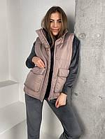 Женская стильная жилетка с накладными карманами на утеплителе силикон (Норма), фото 7