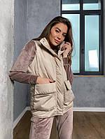 Женская стильная жилетка с накладными карманами на утеплителе силикон (Норма), фото 8