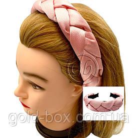 Обідок-чалма для волосся кіска рожева