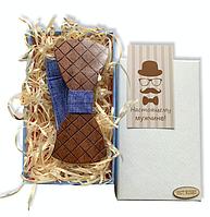 Деревянная бабочка - Галстук классическая с ромбиками в подарочной упаковке 8409