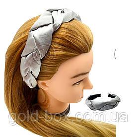 Обідок для волосся кіска сіра