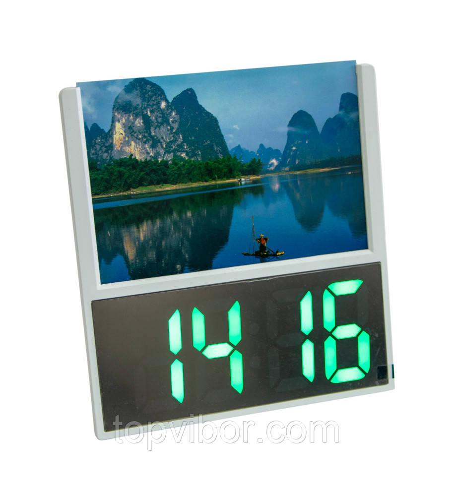"""Настільний електронний годинник світяться DS 6606 з рамкою для фото """"озеро з горами"""", led годинник з"""