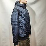 Чоловіча куртка весняна (Великих розмірів) демісезонна класична темно синя, фото 4