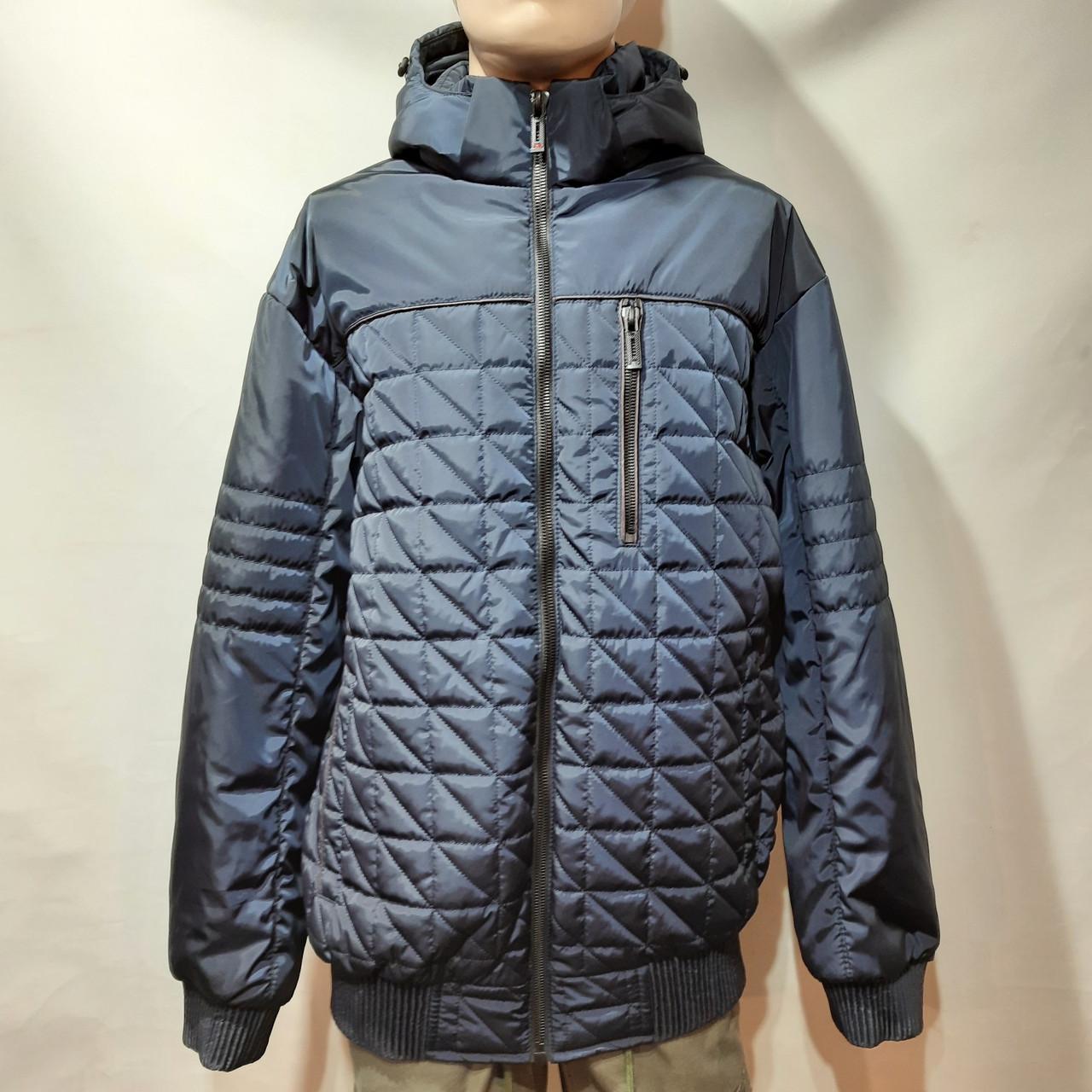Чоловіча куртка весняна (Великих розмірів) демісезонна класична темно синя