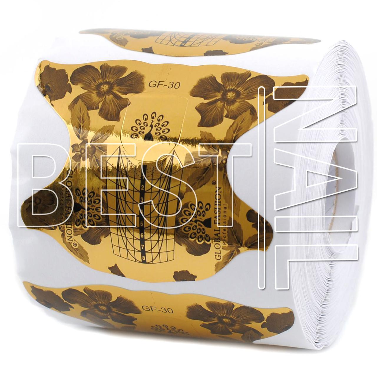 Форми для нігтів Global Fashion золоті GF-30 300 штук