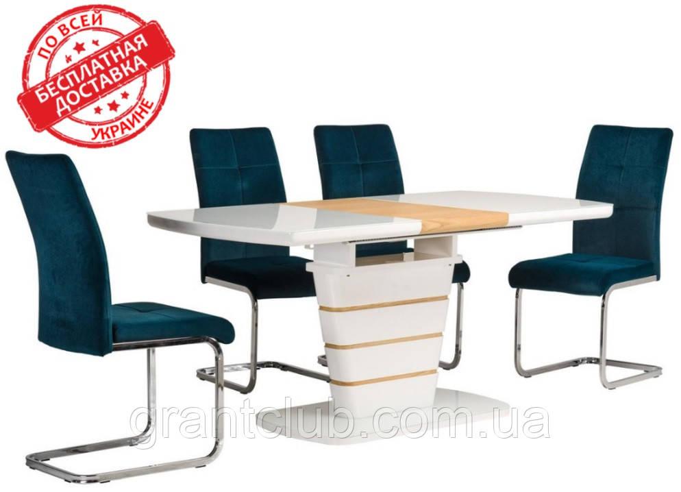 Стол TM-59-1 белый + дуб 120/160х80 (бесплатная доставка)