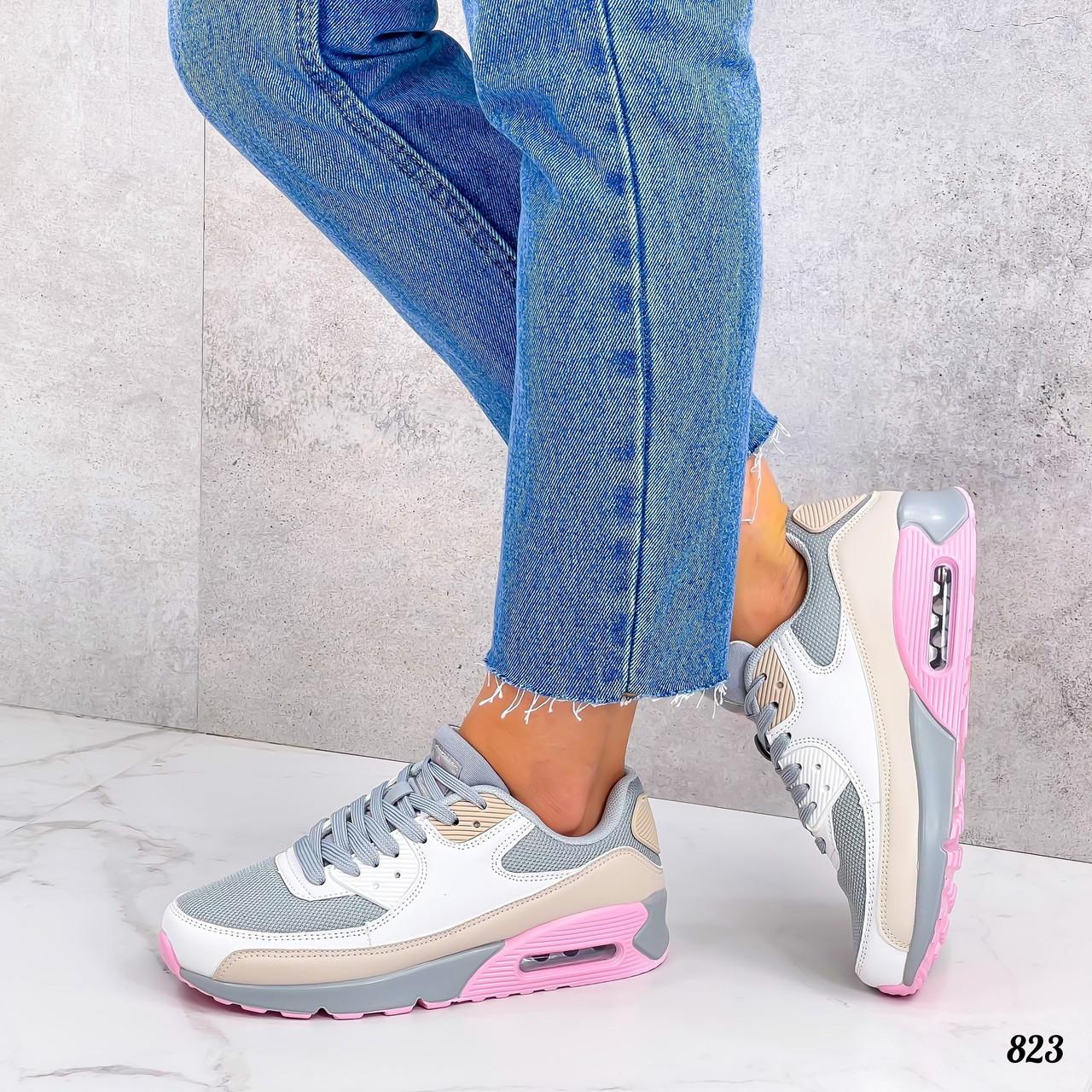 Женские кроссовки из эко кожи и текстиля 36-40 р серый+розовый+белый