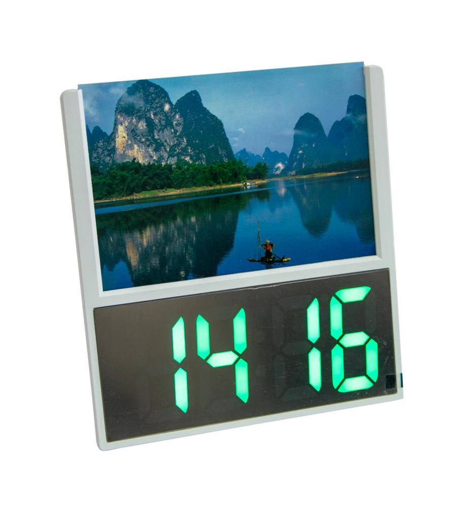 """Настольные электронные часы светящиеся DS 6606 с рамкой для фото """"озеро с горами"""", led часы с градусником (GK)"""