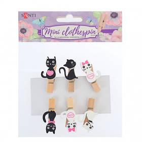 """Набір прищіпок дерев'яних декоративних Santi """"Lovely kitties"""", 3.5см, 6шт/уп"""