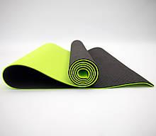 Килимок для йоги та фітнесу (йога мат) OSPORT Premium TPE+TC 183х61см товщина 6мм (FI-0076) чорно-салатовий