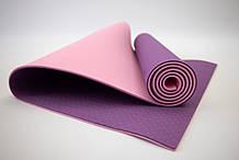 Килимок для йоги та фітнесу (йога мат) OSPORT Premium TPE+TC 183х61см товщина 6мм (FI-0076) фіолетово-рожевий