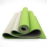 Килимок для йоги та фітнесу (йога мат) OSPORT Premium TPE+TC 183х61см товщина 6мм (FI-0076) оливково-сірий, фото 4