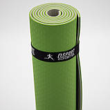 Килимок для йоги та фітнесу (йога мат) OSPORT Premium TPE+TC 183х61см товщина 6мм (FI-0076) оливково-сірий, фото 5