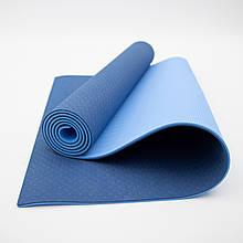 Килимок для йоги та фітнесу (йога мат) OSPORT Premium TPE+TC 183х61см товщина 6мм (FI-0076) синьо-блакитний