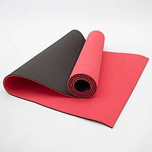 Килимок для йоги та фітнесу (йога мат) OSPORT Premium TPE+TC 183х61см товщина 6мм (FI-0076) червоно-чорний
