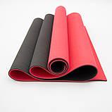 Коврик для йоги и фитнеса TPE (йога мат, каремат спортивный) OSPORT Yoga ECO Pro 6мм (FI-0076) Красно-черный, фото 2