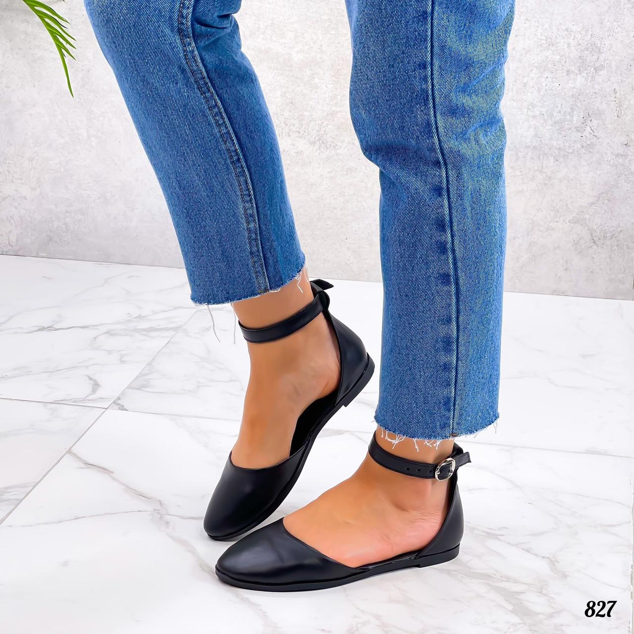 Жіночі шкіряні відкриті туфлі на низькому ходу 36-40 р чорний