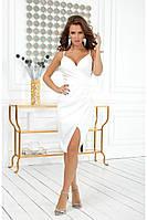 Облегающее белое платье на тонких бретельках с разрезом на ноге (S, M)