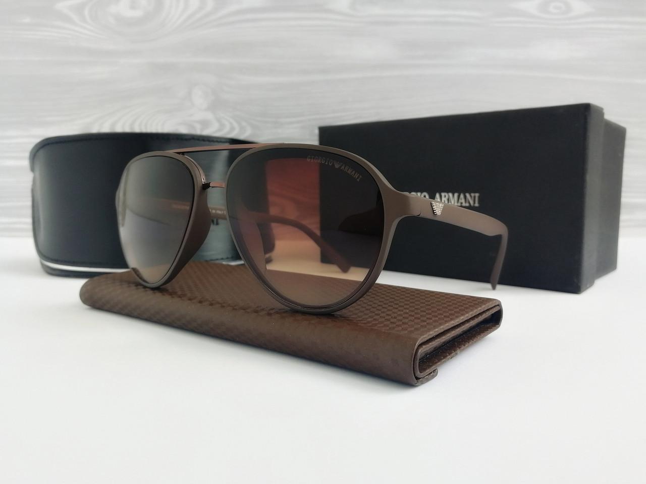 Чоловічі коричневі округлені сонцезахисні окуляри авіатор Armani