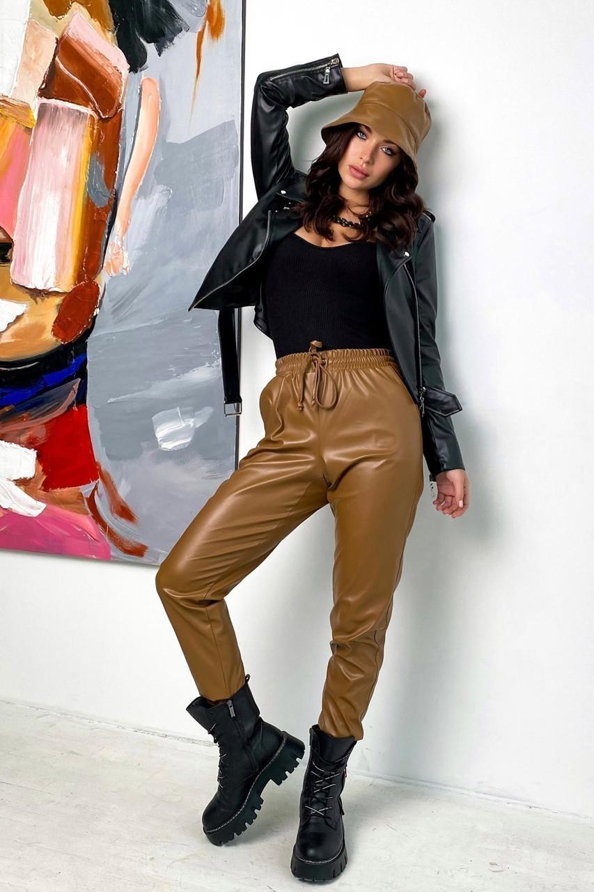 Модные кожаные джоггеры, пояс манжеты на резинке, желто-коричневый, эко-кожа