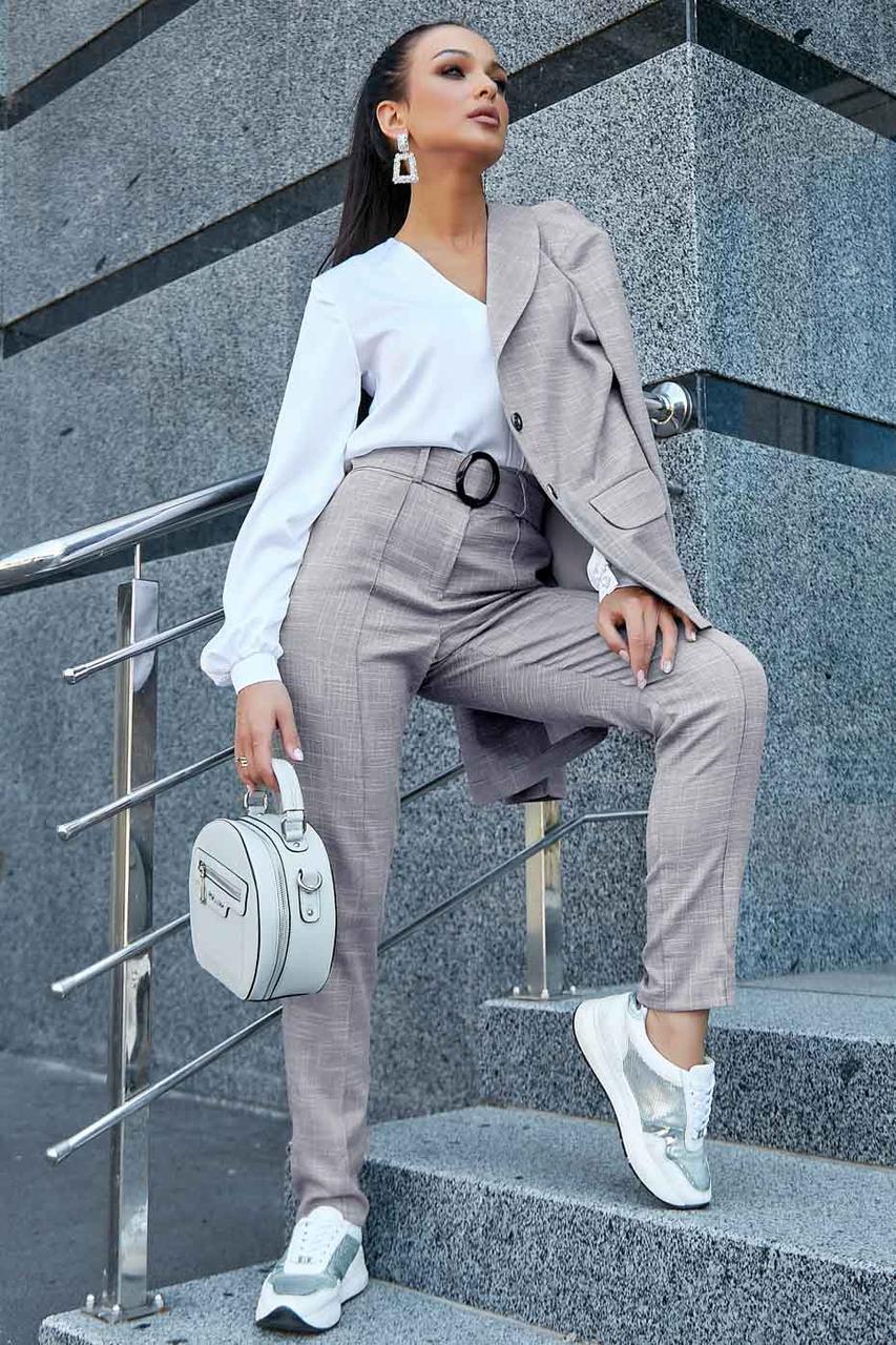 Штани жіночі модні офісні елегантні класичні в клітку, сірий, льон