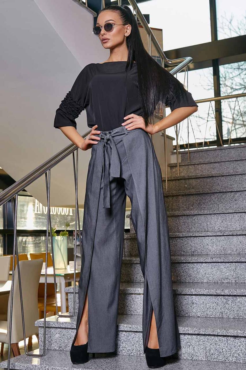 Модні розкльошені брюки з запахом, чорний, річний італійський стрейч-котон (джинс)