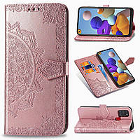 Чехол Vintage для Samsung Galaxy A21s 2020 / A217F книжка кожа PU с визитницей розовый