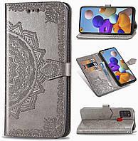 Чехол Vintage для Samsung Galaxy A21s 2020 / A217F книжка кожа PU с визитницей серый
