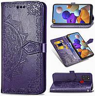 Чехол Vintage для Samsung Galaxy A21s 2020 / A217F книжка кожа PU с визитницей фиолетовый