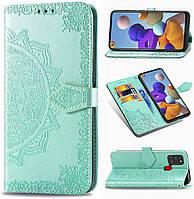 Чехол Vintage для Samsung Galaxy A21s 2020 / A217F книжка кожа PU с визитницей бирюзовый