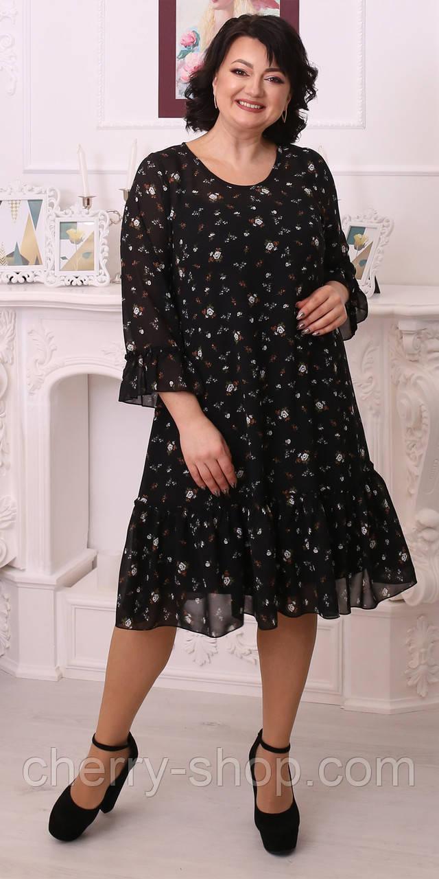 Красиве жіноче плаття з шифону в розмірі 50,52,54,56,58