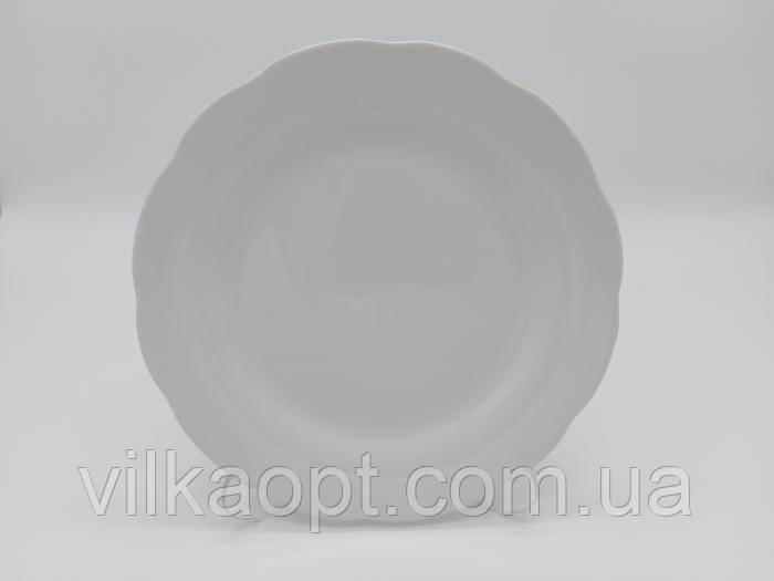 """Тарілка обідня керамічна """"Хвилястий край"""" для других страв біла d 20 cm. (12 штук в упаковці)"""