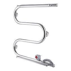 Полотенцесушитель електричний Q-tap Snake shelf (CRM) 500х500 RE з тримачем рушника