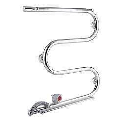 Полотенцесушитель електричний Q-tap Snake shelf (CRM) 500x500 LE з тримачем рушника