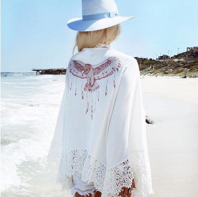 Женское пляжное кружевное платье накидка Marina white