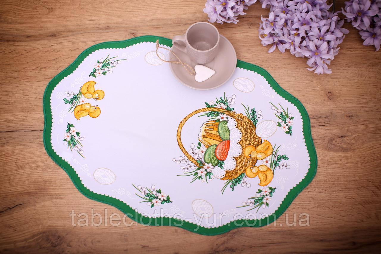 Салфетка Великодня 33-48 «Пасхальний Кошик» Зелений візерунок Біла