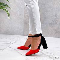 Женские классические туфли на каблуке из эко замшал 36-40 р красный+чёрный, фото 1