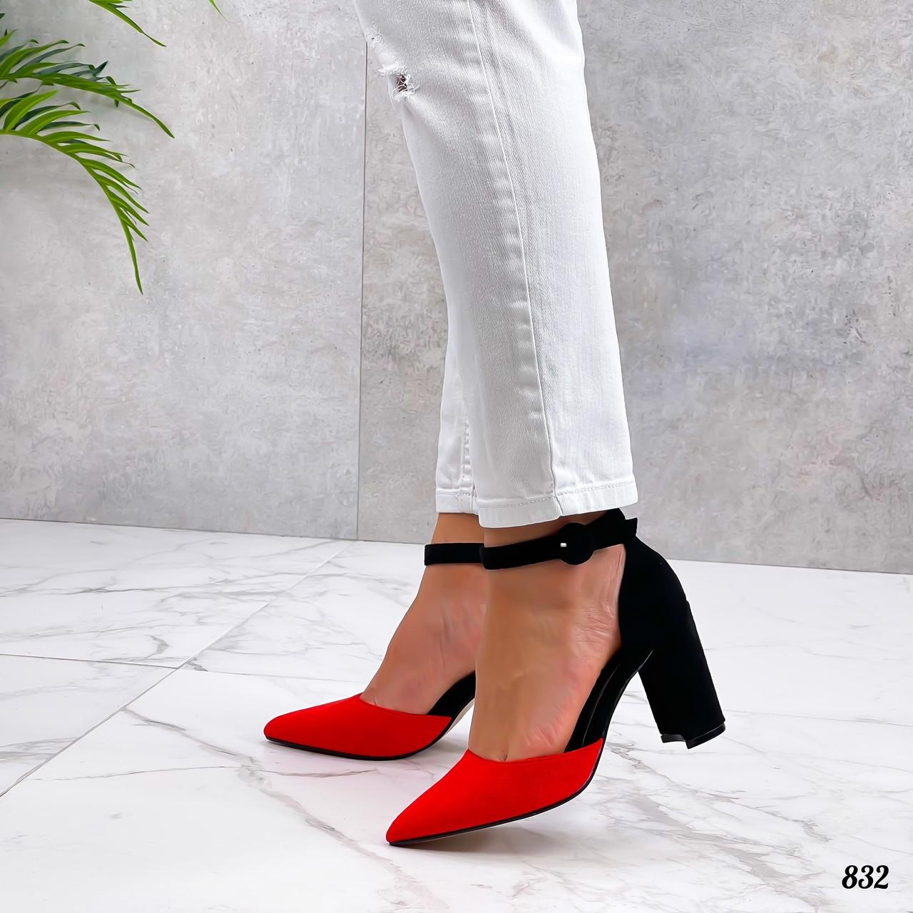 Женские классические туфли на каблуке из эко замшал 36-40 р красный+чёрный