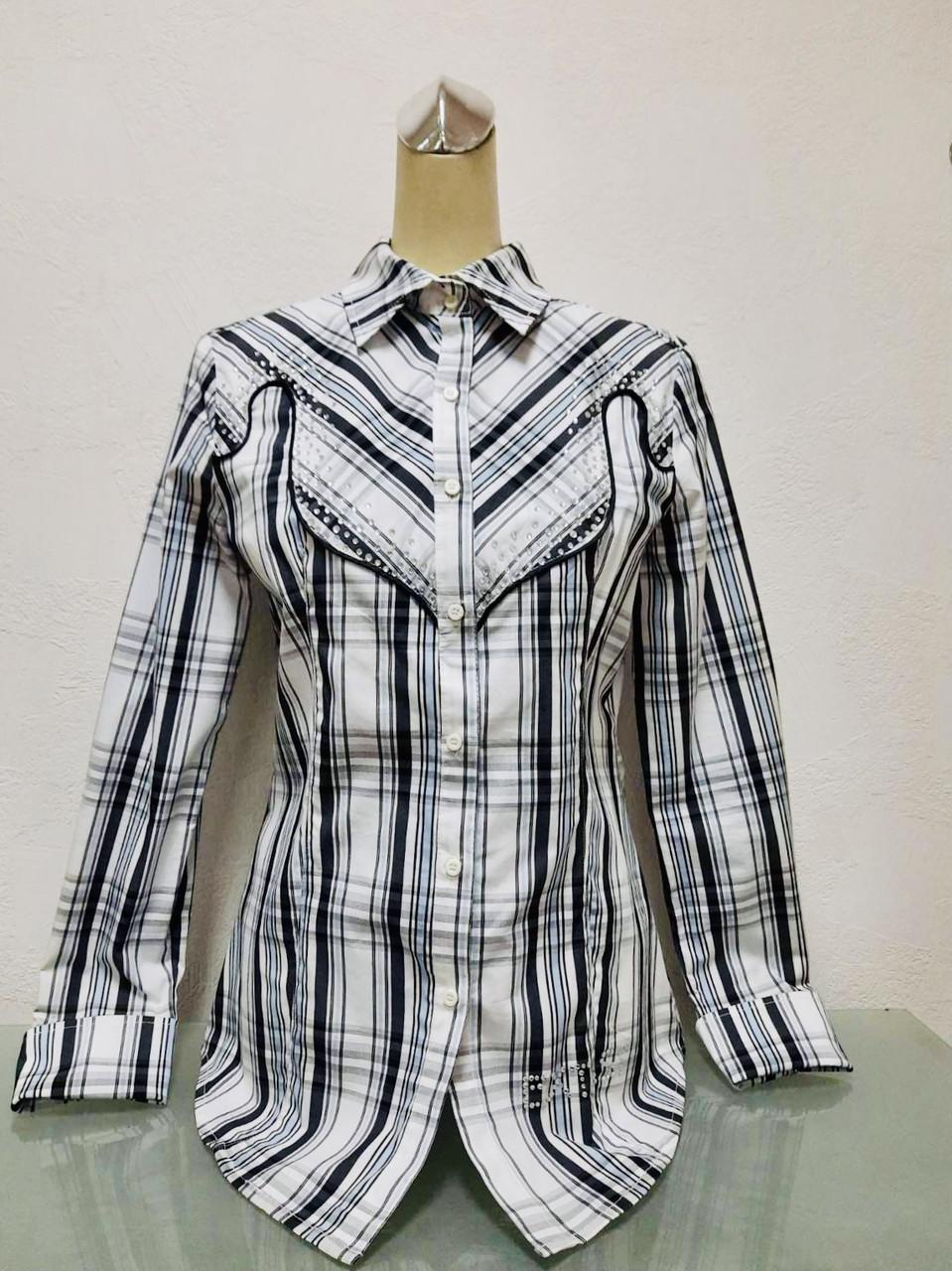 Блуза рубашка женская белая в клетку с длинным рукавом