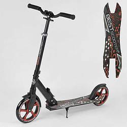 Самокат 88146 (2) Best Scooter, ЧЕРНЫЙ, зажим руля, переднее колесо PU - 22 см, заднее колесо PU - 20 см, 1