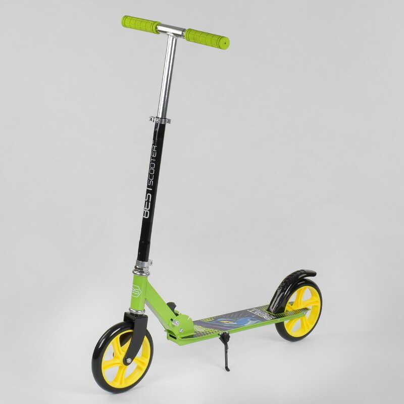 Самокат двухколесный 53396 (4) САЛАТОВЫЙ, колеса PU, d=20см, грипсы резиновые, длина доски 52см, ширина деки
