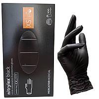 Перчатки нитриловые NITRYLEX черные XS 100 шт