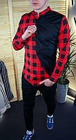 Мужская рубашка красная в клеточку без воротника стильная классическая