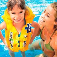 Жилет надувной Intex Deluxe Swim Vest, детский жилет на 2 застежки, желтого цвета