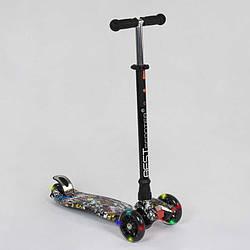 """Самокат А 24642 /779-1386 MAXI """"Best Scooter"""" (1) пластмассовый, 4 колеса PU, СВЕТ, трубка руля алюминиевая,"""