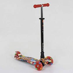 """Самокат А 24644 /779-1388 MAXI """"Best Scooter"""" (1) пластмассовый, 4 колеса PU, СВЕТ, трубка руля алюминиевая,"""