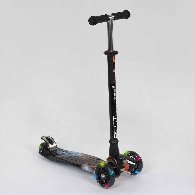"""Самокат А 24662 /779-1311 MAXI """"Best Scooter"""" (1) пластмассовый, 4 колеса PU, СВЕТ, трубка руля алюминиевая,"""