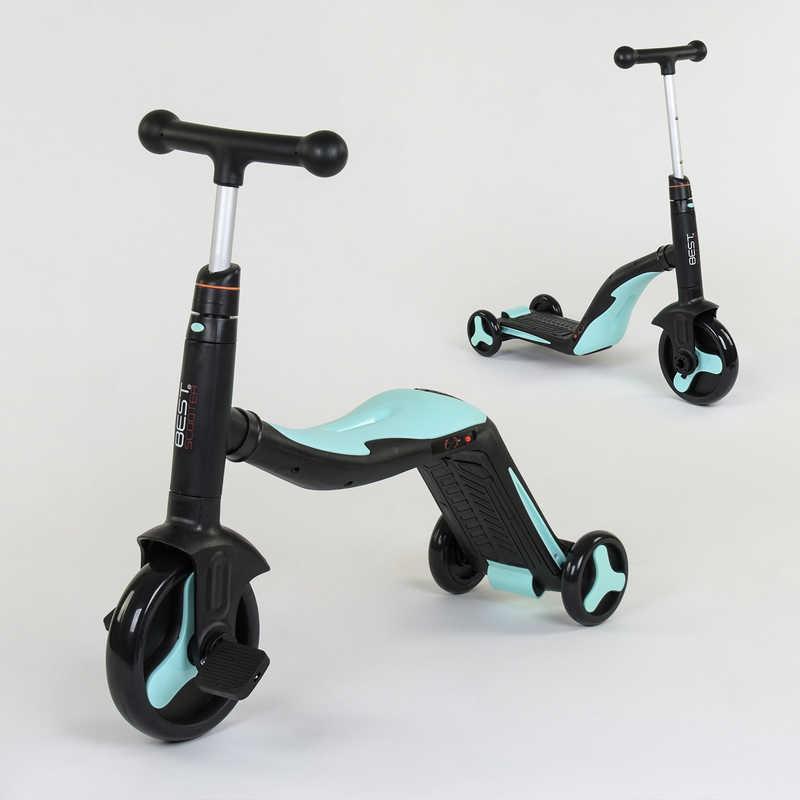 Самокат 3в1 JT 20255 (1) Best Scooter, самокат-велобег-велосипед, ГОЛУБОЙ, свет, 8 мелодий, колёса PU,