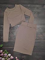Подростковый костюм топ+юбка-карандаш  для девочкиразмер 8-12 лет, цвет темный беж