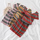Платье в полоску из машинной мелкой вязки с U-образным вырезом и коротким рукавом (р. S-L) 91py2199, фото 5